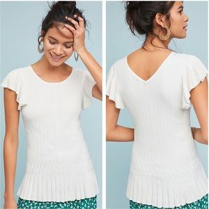Anthro Moth Annecy Flutter-Sleeve Ribbed Top White